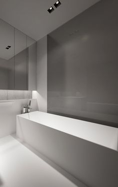 Minimalist Bathroom // neutral colors balance the modern approach for this Project in Poland by Oporski Architecture _ Beautiful Interior Design, Contemporary Interior Design, Home Interior Design, Interior Architecture, Interior Ideas, Minimalist Baths, Minimalist Bathroom, Bathroom Interior, Design Bathroom