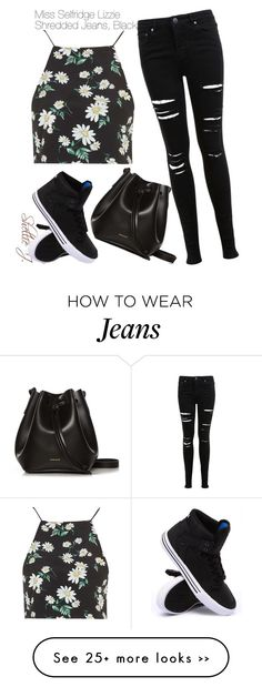 """Miss Selfridge Lizzie Shredded Jeans, Black"" by shelliej on Polyvore"
