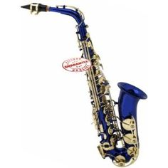 Merano Alto Saxophone Blue with Case. Alto Saxophone in a blue lacquer finish is ideal for the beginning student! The Alto Sax is very versatile and is used commonly in Concert, Jazz, Funk, Blues, Pop, and Rock music, to name a few. This Alto Saxophone is in the key of Eb, high F # key. It features high quality resonator leather pads for maximum sound projection. This Saxophone also features contoured keys with imitation mother of pearl inlays. This Saxophone includes deluxe case, ebonite…