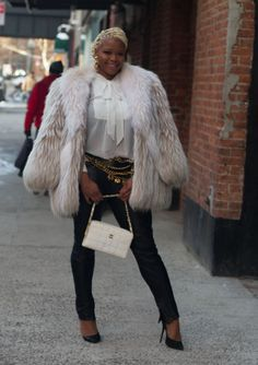 Claire Sulmers of Fashion Bomb Daily in ASCResale's Chanel patent chocolate bar bag, charm belt and vintage earrings!.