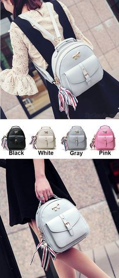 Which color do you like? Cute Bow College Multifunction Lady's Bag Front Belt Handbag Metal Lock Shoulder Bag Backpacks #cute #bow #college #bag #metal #backpack #rucksack
