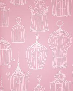 Celine Wallpaper A striking pink wallpaper featuring white vintage birdcages.