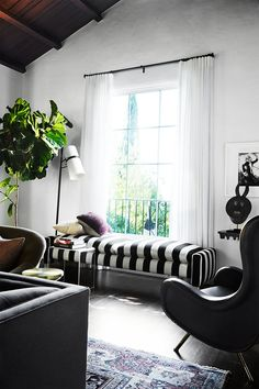 A classic stripe. A Rocker Chic Home In The Hills, Consort Design Room, Eclectic Living Room, Interior, Chic Home, Home Decor, Room Inspiration, House Interior, Interior Design, Home And Living