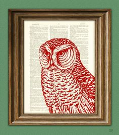 Red HAWK OWL print over an upcycled vintage dictionary page book art. $7.99, via Etsy.