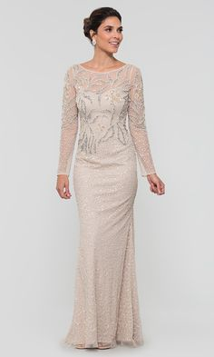 Shop Adrianna Papell long beaded MOB dresses at Kleinfeld Bridal Party. Biscotti nude formal mother-of-the-bride dresses and cap-sleeve v-neck MOB dresses with beaded embroidery, sequins, and godets. Evening Dresses With Sleeves, Mob Dresses, Formal Evening Dresses, Dresses For Teens, Simple Dresses, Wedding Dresses, Chiffon Evening Dresses, Long Mothers Dress, Mother Of The Bride Dresses Long