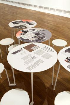 Exposiciones diferentes, lee historia mientras tomas un café. Vinilos personalizados para mesas, podemos hacerlo!! Kitaj _ Jüdisches Museum Berlin