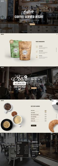 Sometimes, all you need to relax is a fine cup of coffee, just like Barista, a modern theme for cafes, coffee shops and bars is the essential ingredient you need to brew an astonishing website! Choose Barista this very instant and grow your business! Coffee Shop Website, Tea Website, Restaurant Web, Modern Restaurant, Restaurant Interior Design, Design Café, Web Design Trends, Modern Design, Email Design