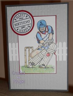 Cards for men, Just Inklined stamps, LOTV stamps, Cricket, handmade birthday card
