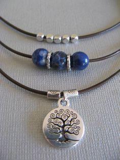 Sundance Jewelry Treasures Sodalite Leather Tree of Life Necklace Artisan #SundanceTreasuresJewelry #StrandChoker