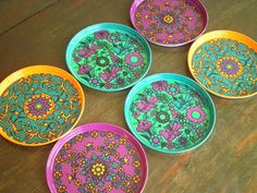 Vintage Metal Psychadelic Stackable Coaster Set of 6 by ktrever, $12.00