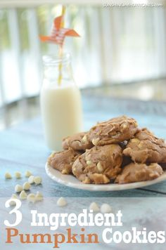 ONLY 3 Ingredients! These ridiculously delicious and easy to make pumpkin cookies only use Easy No Bake Desserts, Easy Cookie Recipes, Best Dessert Recipes, Pumpkin Recipes, Easy Desserts, Fall Recipes, Delicious Desserts, Healthy Recipes, Dessert Ideas