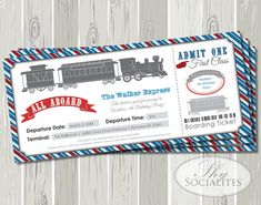 Railroad Ticket Invitations | Train Invitations, Boarding Pass, Ticket, Railway, Train Ticket, Red, Blue, Birthday, Baby Shower | Printable