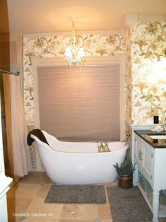 Large soaking tub in the master bathroom of The Kellswater, plan 1189. http://www.dongardner.com/plan_details.aspx?pid=3426. #Master #Bathroom #SoakingTub