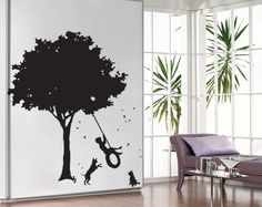 The Boys on old Tire Swing and Dogs Vinyl Wall Art by lapoonstudio, $32.99