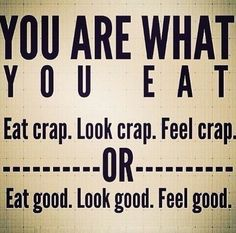 You are what you eat. Eat Crap. Look Crap. Feel crap. OR Eat Good. Look Good. Feel Good.