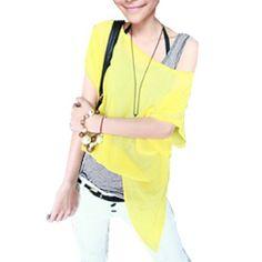 Allegra K Ladies Scoop Neck Dolman Sleeve Fake Two Pieces Irregular Hem Blouse Yellow Gray S Allegra K. $9.54