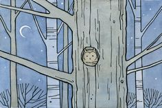 Owl in tree trunk archival matted print by 100owls on Etsy, $16.00