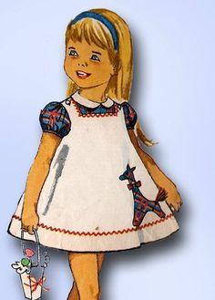 1960s Vintage Toddler's Dress & Jumper Unused 1963 Simplicity Sewing Pattern Sz2 #Simplicity #TotDress