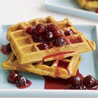 Pumpkin Waffles with Cranberry Honey