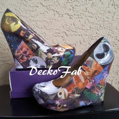 The Nightmare Before Christmas Wedges on Etsy, $50.00 OH MY GOODNESS DYING
