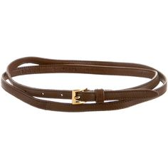 Pre-owned Prada Skinny Waist Belt ($65) ❤ liked on Polyvore featuring accessories, belts, brown, genuine leather belt, leather belt, prada belt, waist belt and 100 leather belt