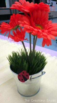 Ladybug Party Centerpiece - red daisies in metal buckets Ladybug Picnic, Ladybug Garden, Baby Ladybug, Ladybug Decor, Ladybug Party Centerpieces, Succulent Centerpieces, First Birthday Parties, Girl Birthday, Birthday Ideas