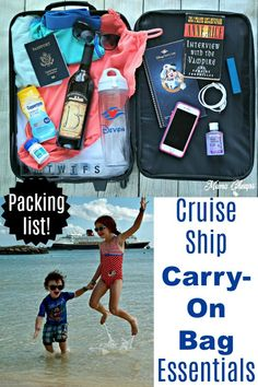 Cruise Ship Carry- On Bag Essentials Packing List Top cruises and tours Packing List For Cruise, Cruise Travel, Cruise Vacation, Packing Lists, Vacations, Cruise Excursions, Honeymoon Cruise, Packing Hacks, Cruise Destinations