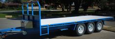 Using a custom plan designed by us, a father & son team built this fantastic Tri-Axle Flatbed to transport their bee hives around - www.trailerplans.com.au