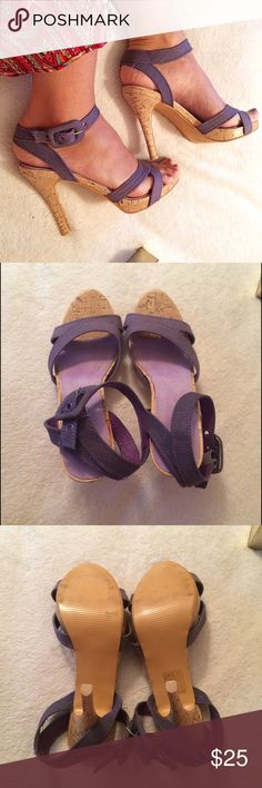 Purple Ankle Strap Cork HEELS!  In a very good condition except a little tiny chip is missing on the right shoe as shown in the last picture. Very comfortable and true to size. Heel measures approximately 4.25 inches. Soft leather like cushion inside. Ruan Shoes Sandals