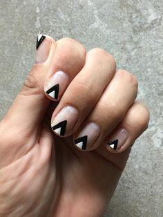 Negative space geometric nail design
