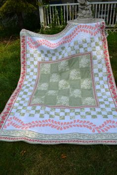 Cottage CHIC Twin size Traditional Green and Peach quilt Shabby looking Vintage Look Quilt