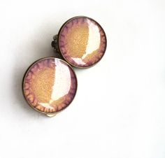 Hand painted earrings - purple and gold