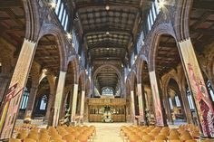 A view of the nave inside Manchester Cathedral