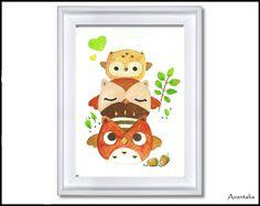 ♥+Eulenfamilie+♥+Kinderbild+-+Print+von+TinyTami+auf+DaWanda.com