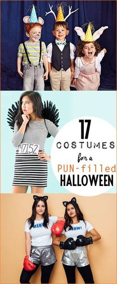 DIY Costumes for a Pun-Filled Halloween. Punny Halloween costumes for kids and adults. Party Animals, Jailbird, Cat Fight, Social Butterflies, Candy Rappers and more.