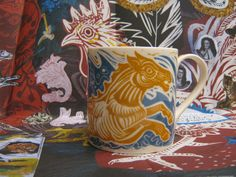 """Golden Seahorse"" mug by Mark Hearld for York Museums Trust"