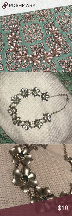 Statement Necklace - Silver Flowers Statement Necklace. Never worn. Blue / green iridescent stones. Offers welcome! Jessica Simpson Jewelry Necklaces