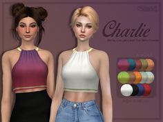 Charlie Metal Collar Crop Top with Chains at Trillyke • Sims 4 Updates