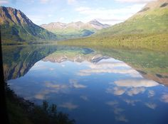Mirror Lake, taken from a moving train going from Anchorage to Seward Alaska