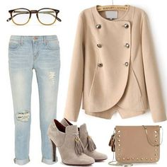 Khaki Long Sleeve Double Breasted Crop Coat Find it:http://bit.ly/170PrDU $92.79 Login with facebook,Save 20% first order! — with Ploy Absolutly and Ines Lora.
