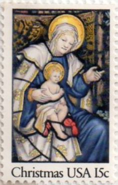 US postage stamp, 15 cent.  Christmas - Stained glass Madonna.  Issued 1980.  Scott catalog 1842.