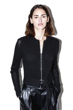 3.1 PHILLIP LIM Belted crochet jacket - Black. #3.1philliplim #cloth #