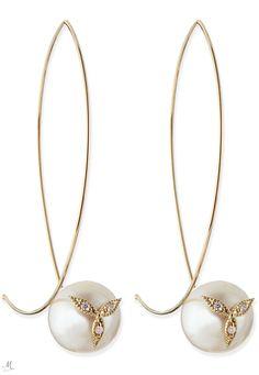 Mizuki 14k Gold Diamond Flower on Pearl Earrings