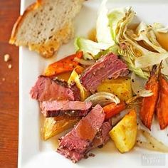 Here's a slow cooker recipe for corned beef and cabbage, a St. Paddy's Day favorite. But why wait until March? The one-dish dinner recipe will taste great any time of year.