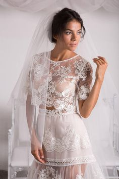 Wedding Top,Bridal Lace Top,Bridal Crop Top,Wedding Separates,Ivory Nude Bridal Lace Top,Sheer Top, Lace Crop Top-Riviera Lace Crop Tops, Bridal Lace, Floral Blouse, Separates, Ivory, Nude, Trending Outfits, Wedding, Etsy