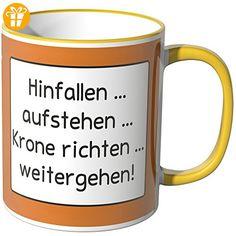 Wandkings® Tasse, Spruch: Hinfallen... Aufstehen... Krone richten... weitergehen - GELB - Tassen mit Spruch | Lustige Kaffeebecher (*Partner-Link)