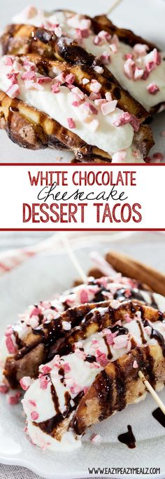 White chocolate peppermint cheesecake inside a cinnamon and sugar mini-naan and topped with peppermint chips and chocolate sauce. Yum! #ad #Naantraditional - Eazy Peazy Mealz