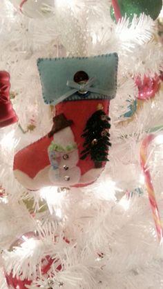 Felt Christmas stocking ornament, My design that I hand made for gift giving. 2013. D. Estephan