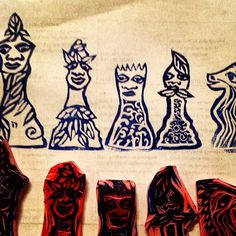 carved rubber stamps--chess pieces