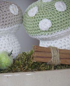 crochet mushroom, virkatut sienet, virkattu sieni, virkade svamp